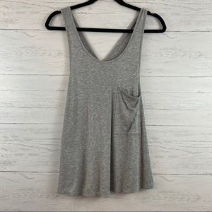 Sweet Claire Gray Ribbed Pocket Front Swing Tank